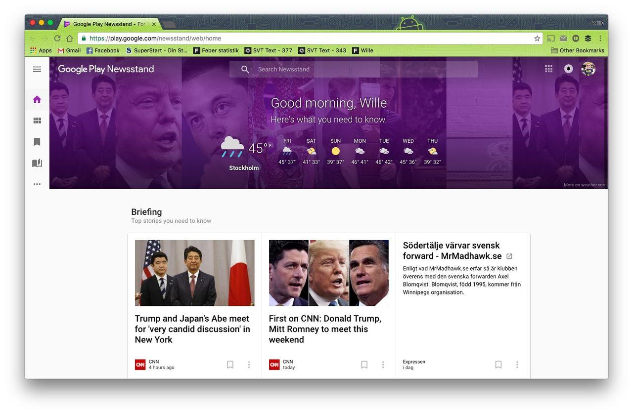 Ny design på Google Play Newsstand  Kommer nu även till