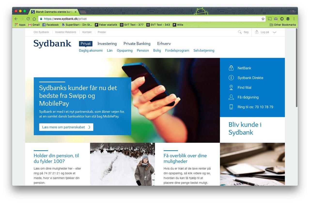 Dansk bank tar betalt per klick på deras banktjänst