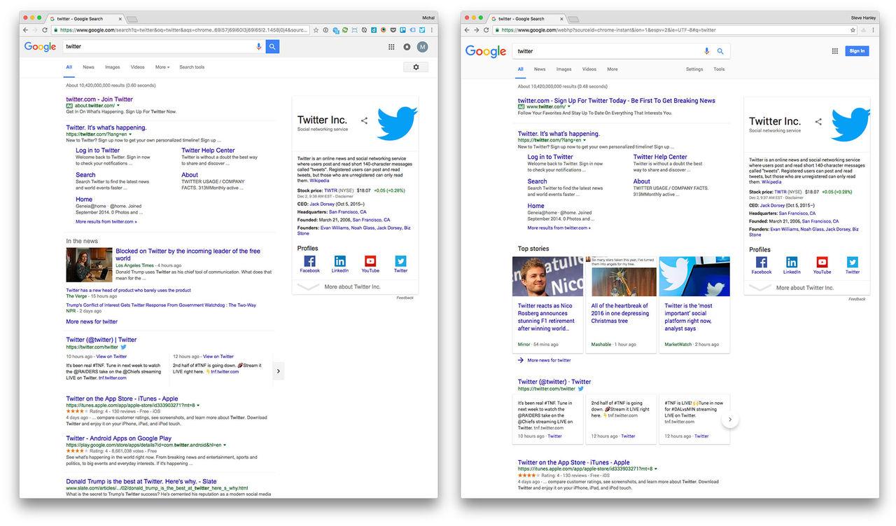 Google testar annat typsnitt på sökresultatet