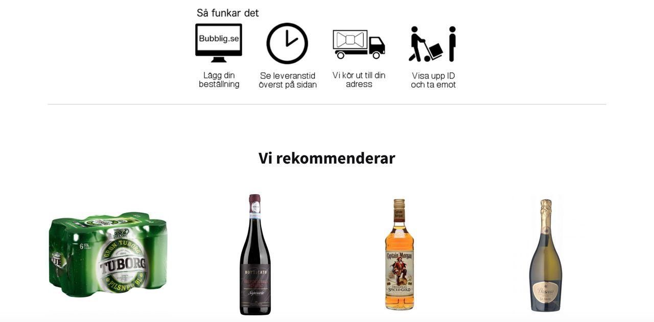 Bubblig levererar alkohol till privatpersoner på helgerna