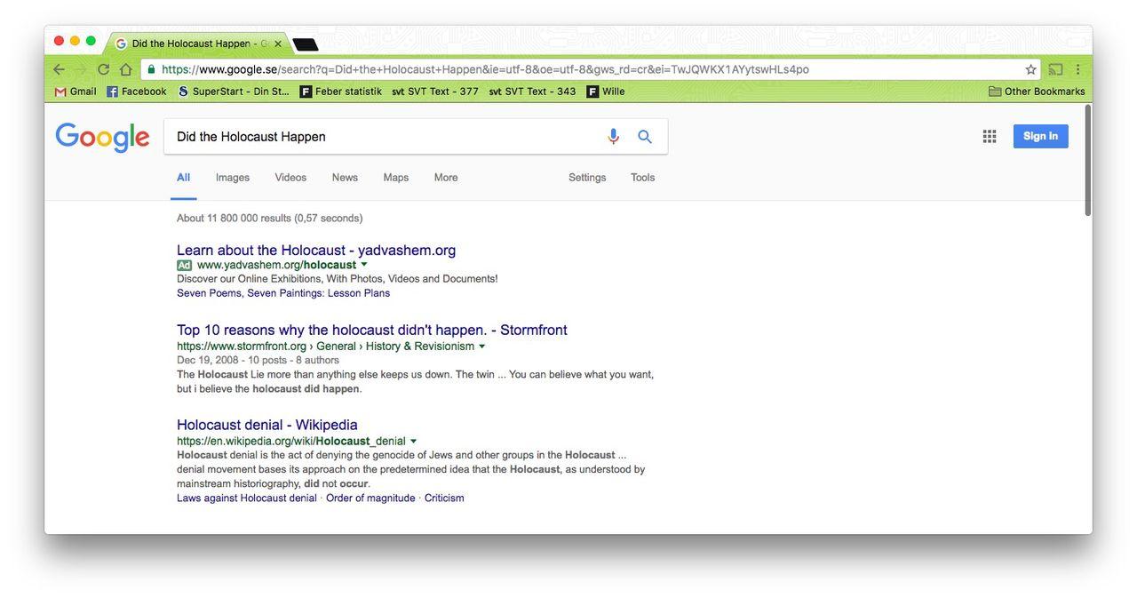 Google vill inte ta bort sökresultat till nazistsajt