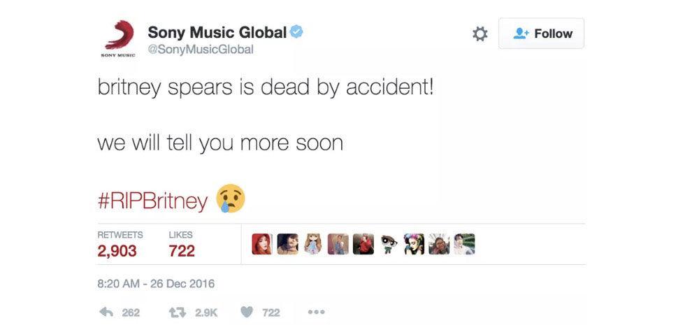 Sony Musics konto på Twitter hackades