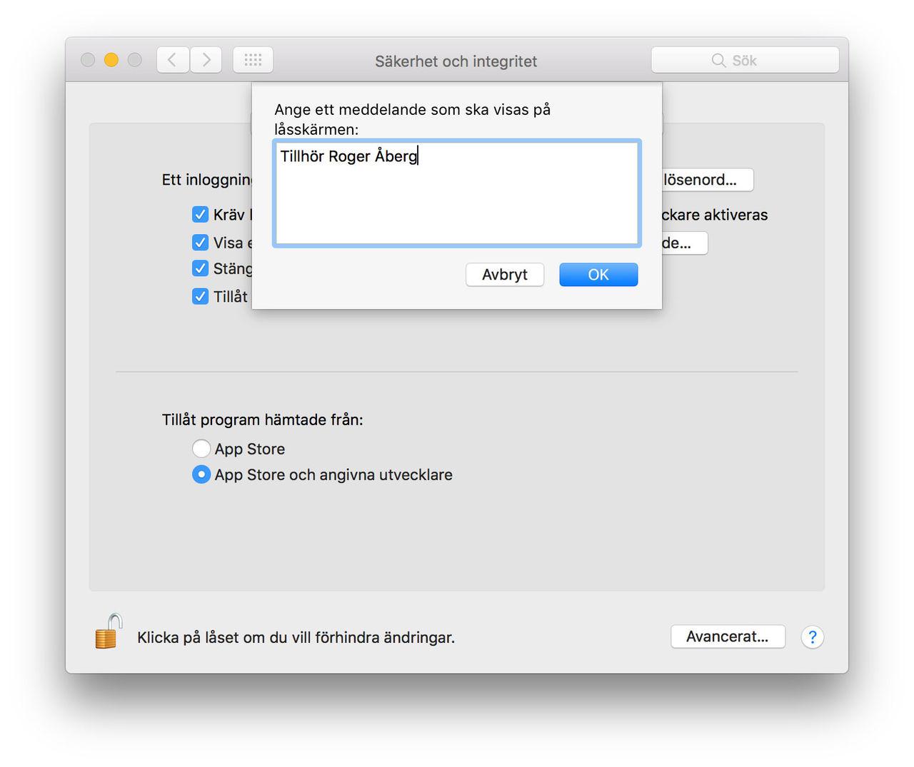 Sätt ett litet meddelande på din Macs startskärm