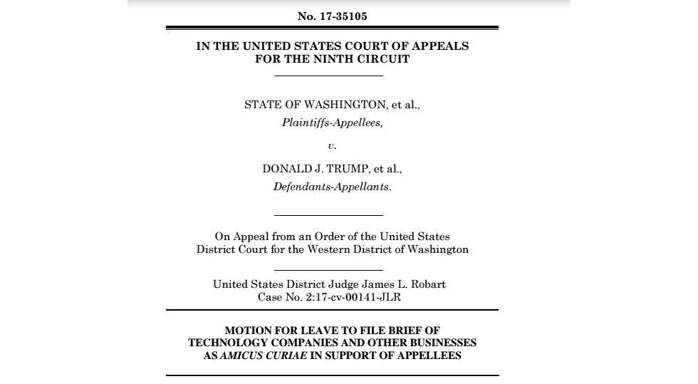 97 techbolag stödjer stämning mot USA:s inreseförbud