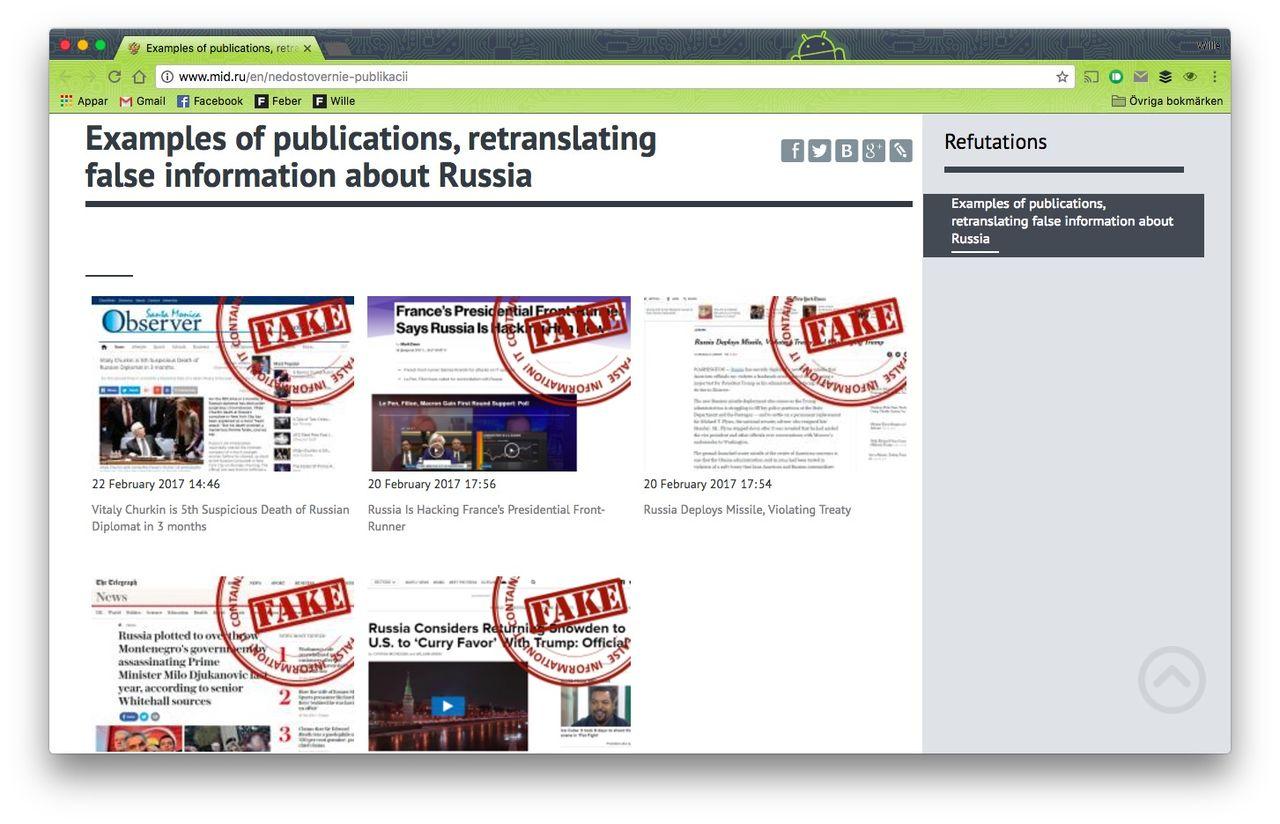 Ryssland drar igång tjänst för att peka ut falska nyheter