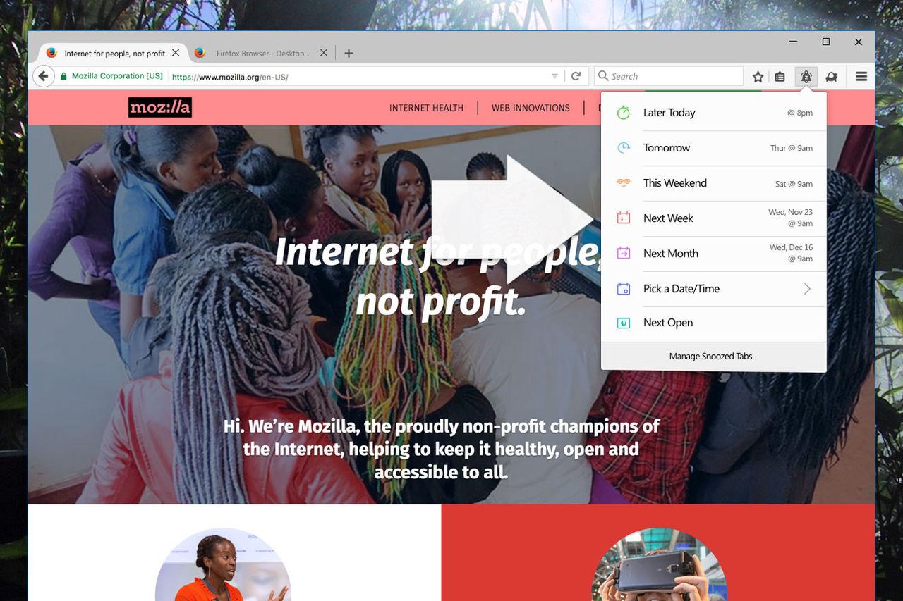Firefox testar snooze-funktion för tabbar