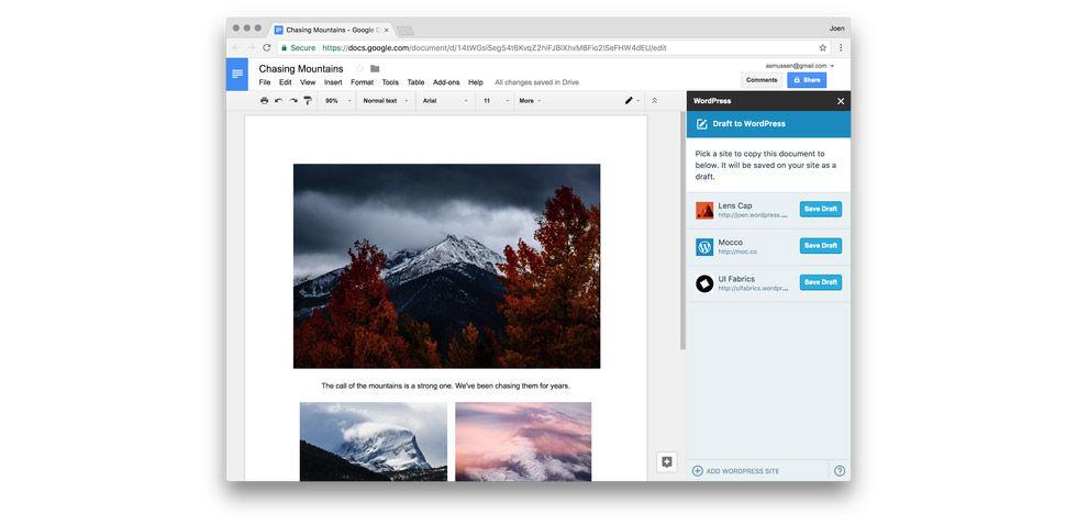 Nu kan man publicera till WordPress från Google Docs