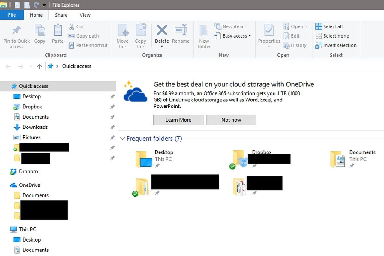 Microsoft kör annonser i Windows filhanterare