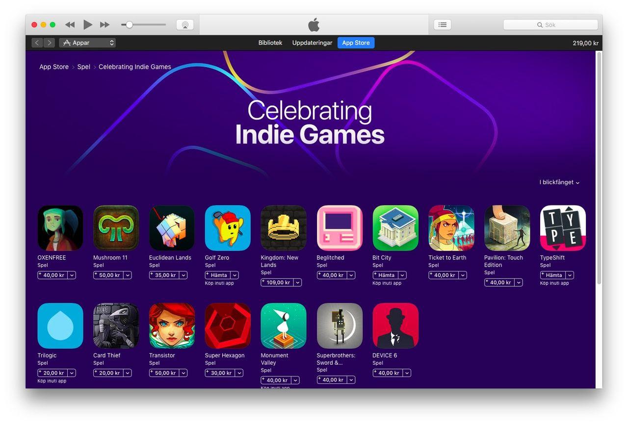 Indiespel får egen sektion i App Store