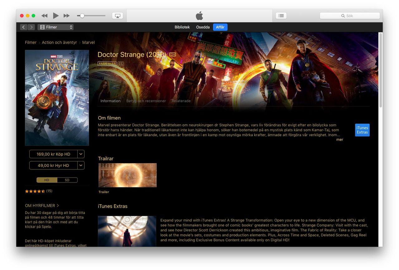 Enklare att titta på hyrfilm från iTunes