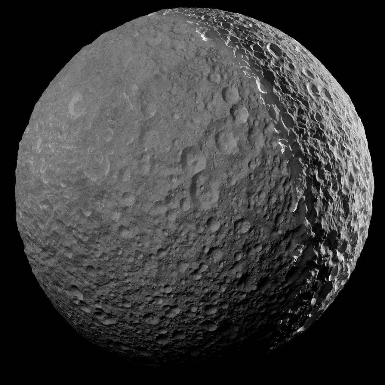 Cassini tar en sista titt på Saturnus måne Mimas