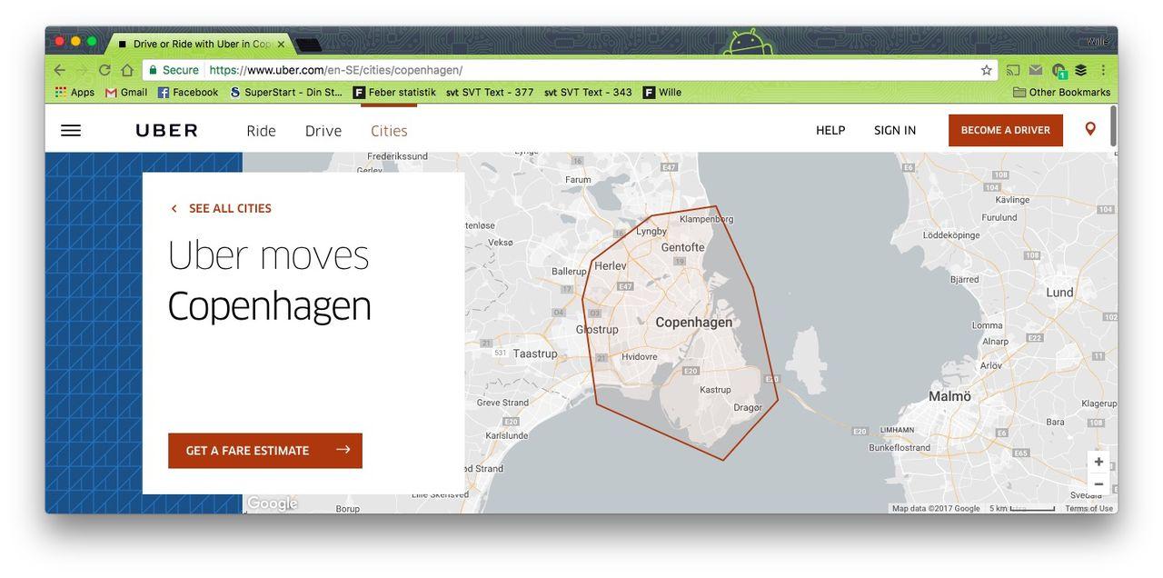 Uber lämnar Danmark