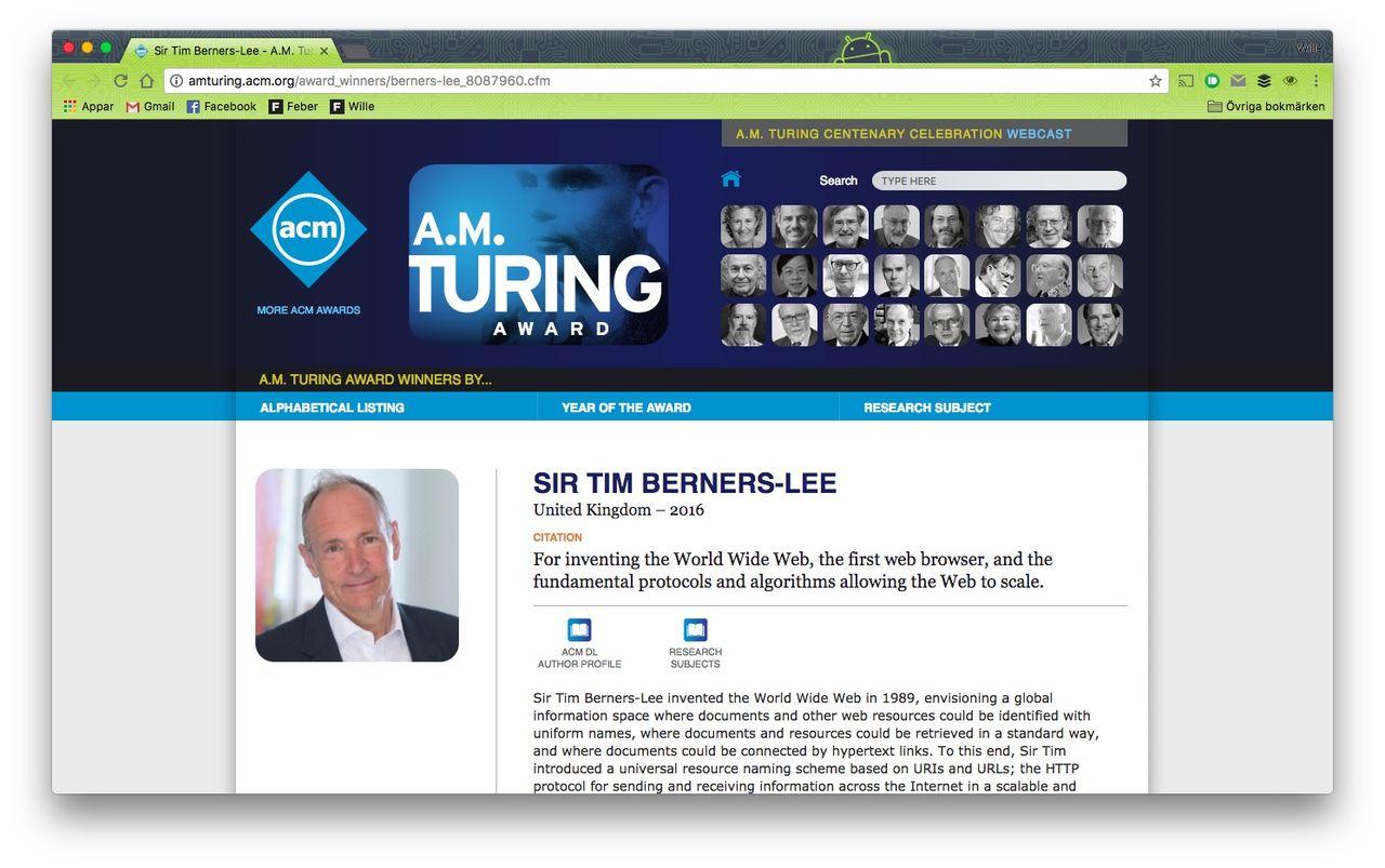 Tim Berners-Lee belönas med Turingpriset