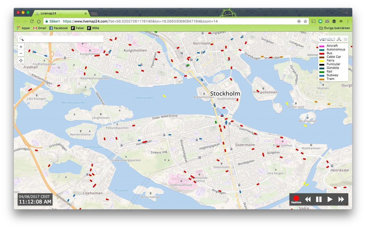 Håll koll på kollektivtrafiken med Livemap24