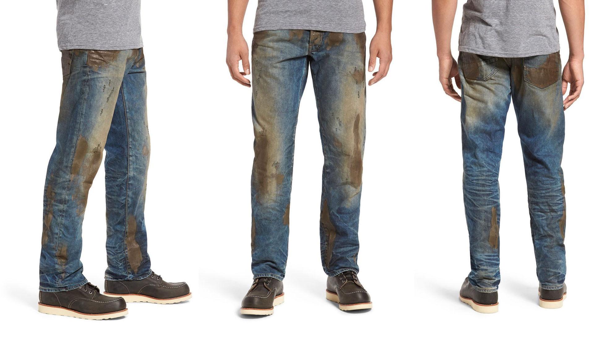 Svindyra jeans som redan är nedsmutsade