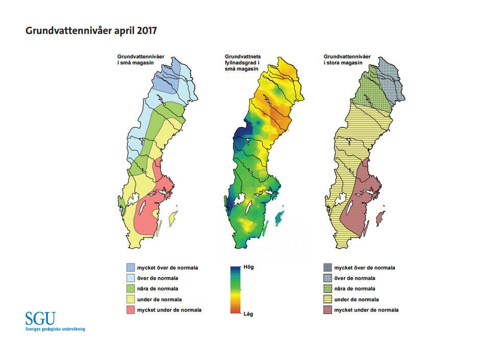 Vattennivåerna under de normala i hela landet