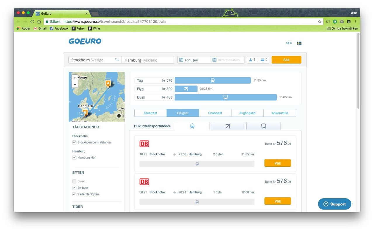 Hitta billigaste resan med GoEuro
