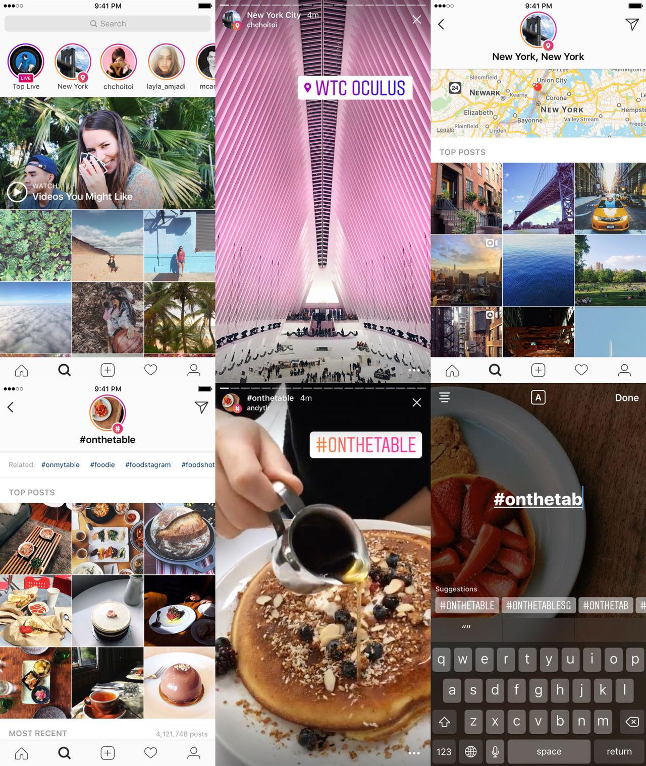 Hitta Instagram Stories med hjälp av plats och hashtag