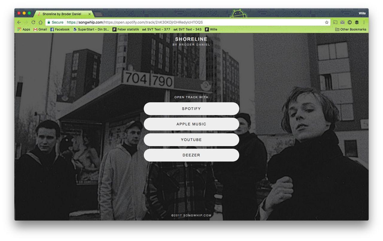 Songwhip fixar länkar till olika musiktjänster