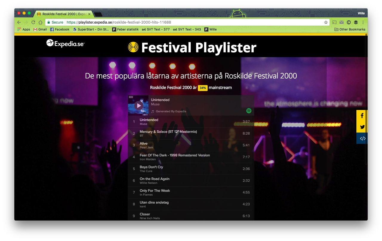Festival Playlister fixar låtlistor från gamla festivaler