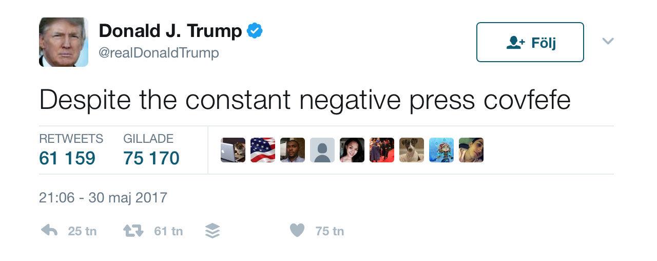 Trump twittrar konstigt