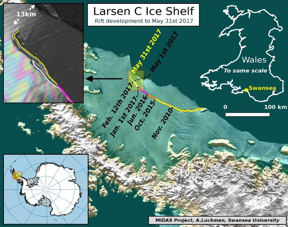 Reva i Antarktis har börjat leta sig mot havet