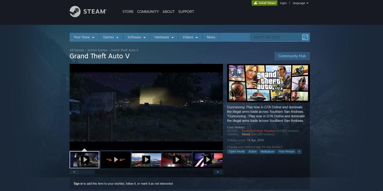 Folk har gett GTA V dåliga betyg på Steam