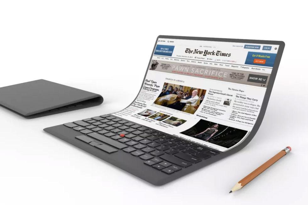 Lenovo visar bärbar dator med böjbar skärm