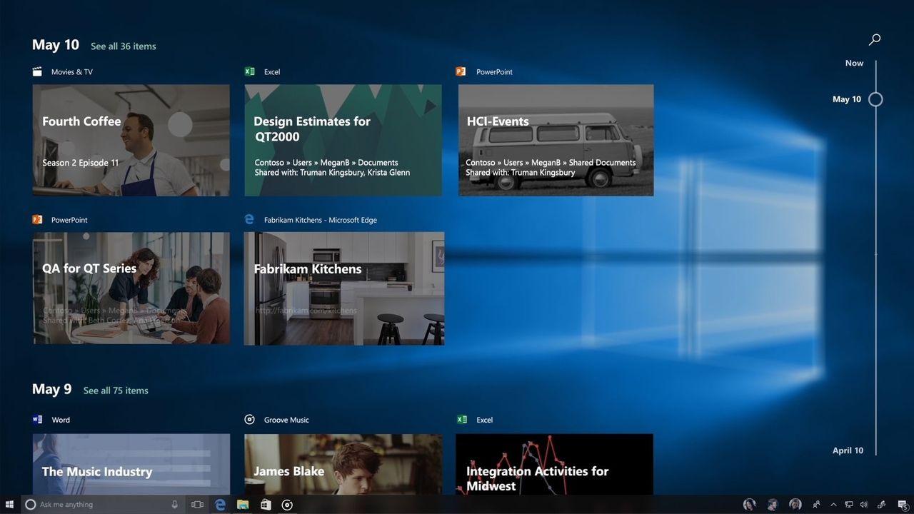 Timeline-funktionen i Windows 10 försenas