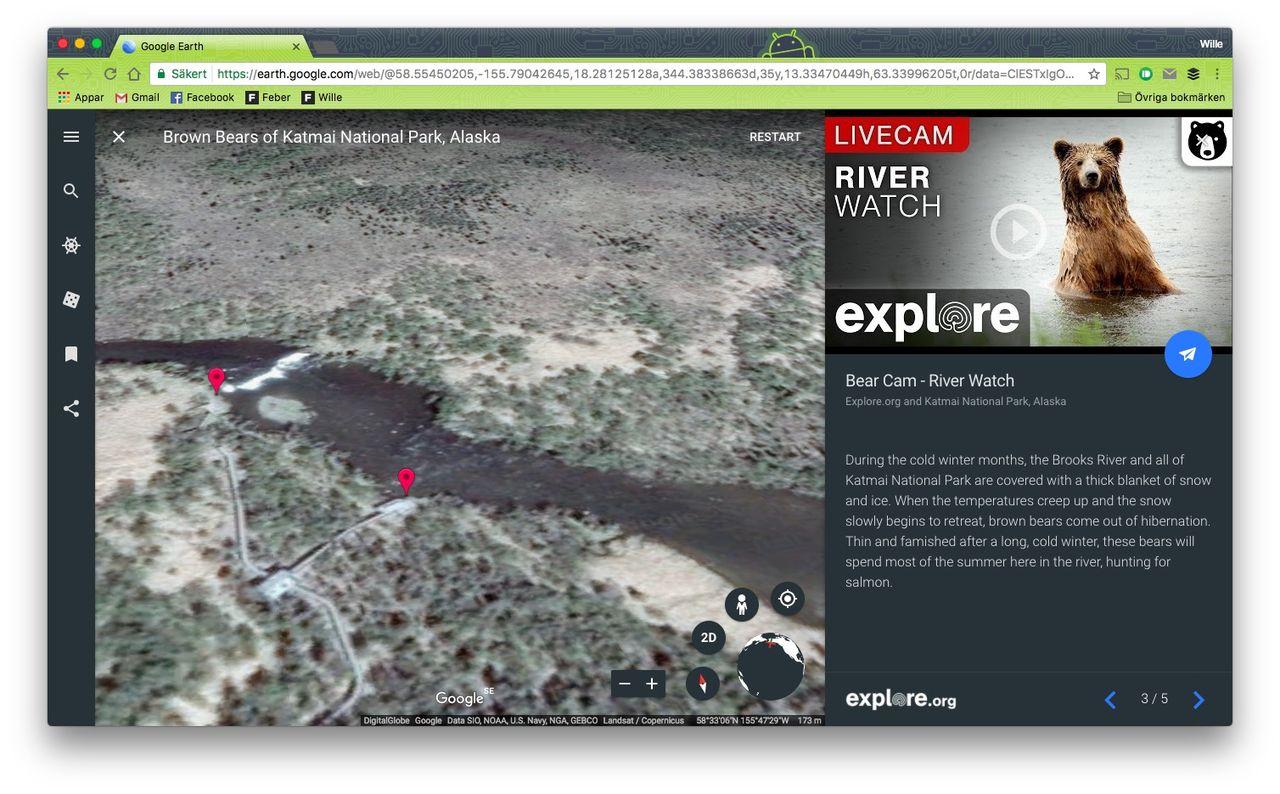 Google Earth börjar visa livevideo