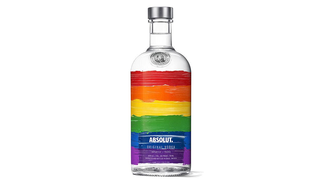 Absolut-flaska i regnbågens färger