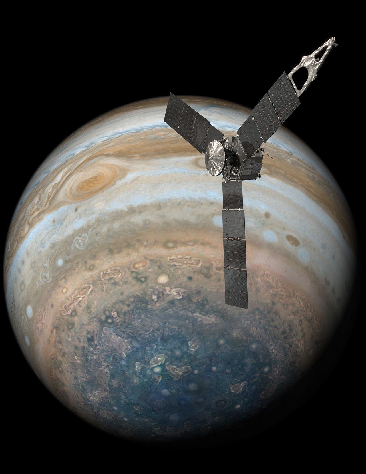Juno kollar in Jupiters stora röda fläck