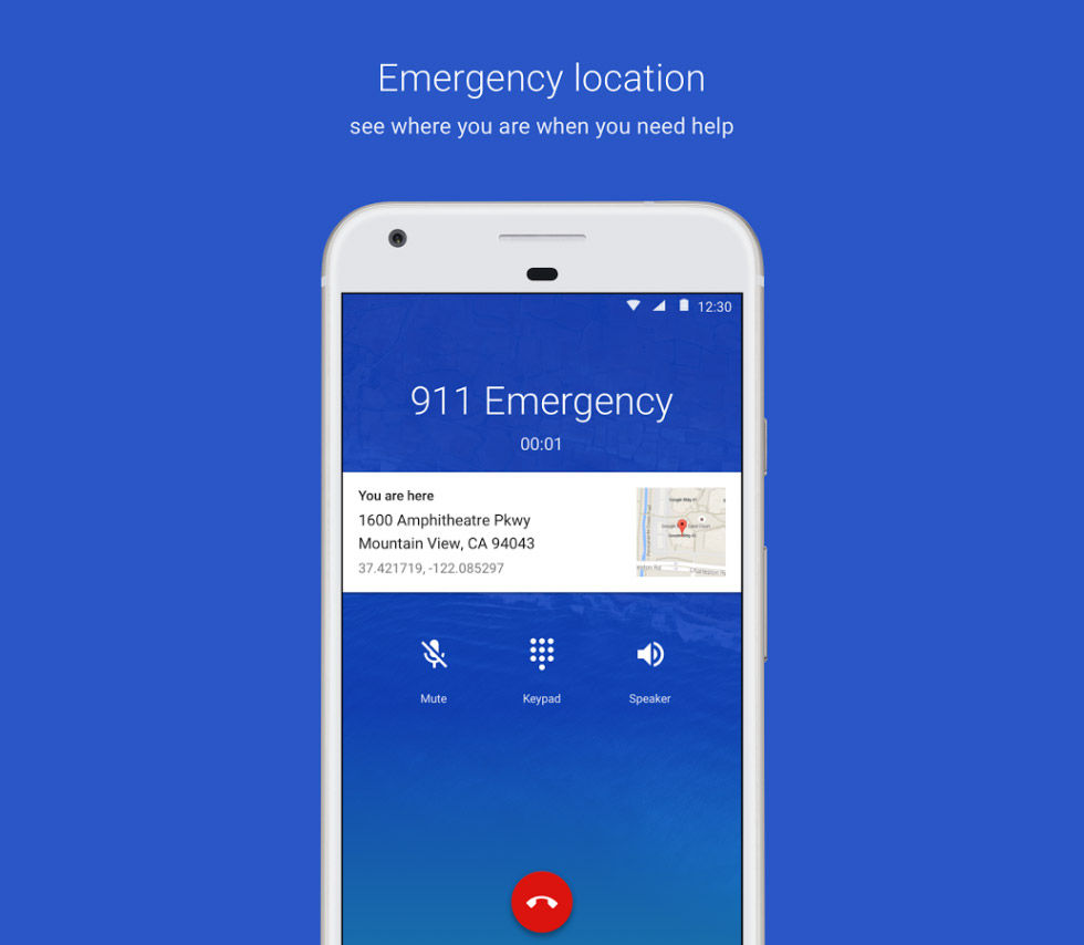 Android visar var du är när du ringer SOS Alarm