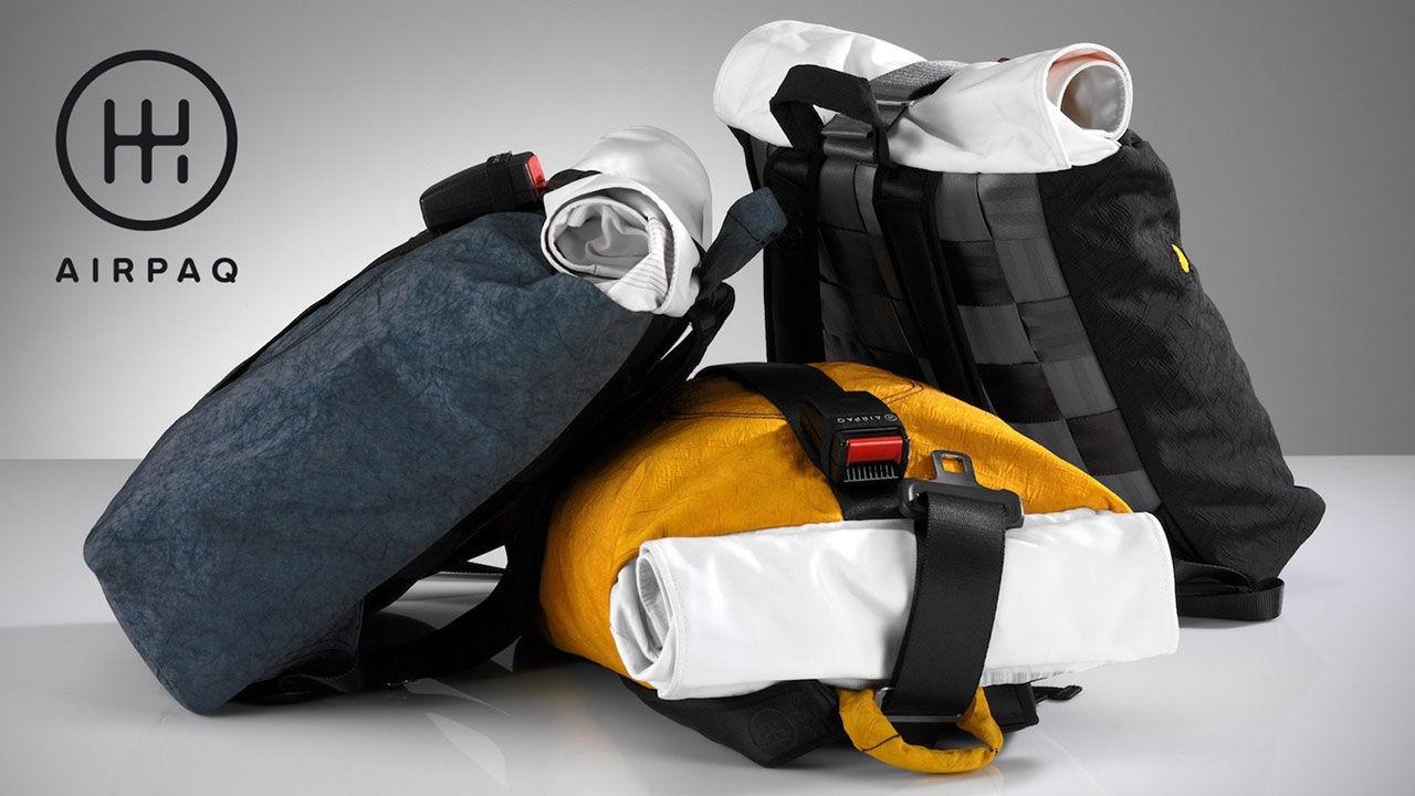 Ryggsäckar tillverkade av bildelar