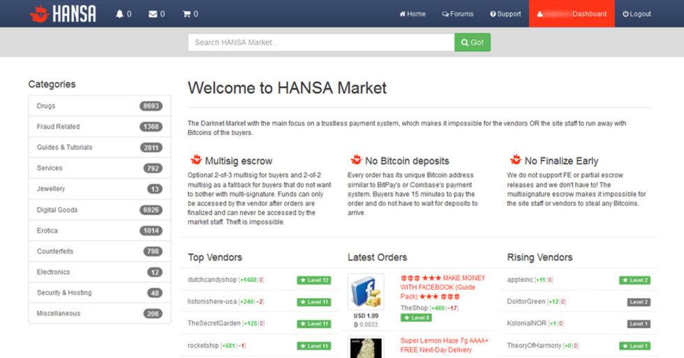 Polis har stängt ner illegala handelsplatsen Hansa Market
