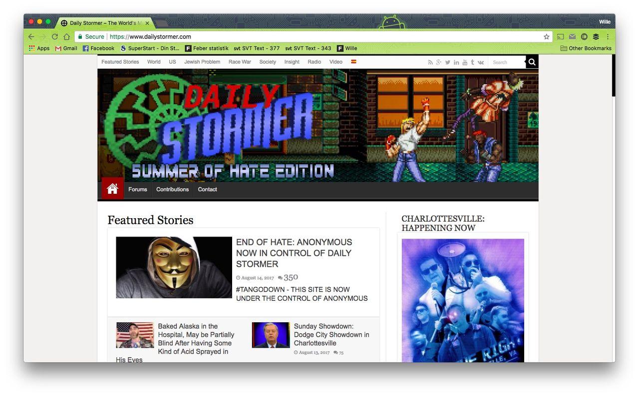 Anonymous sägs ha hackat nazistisk webbplats