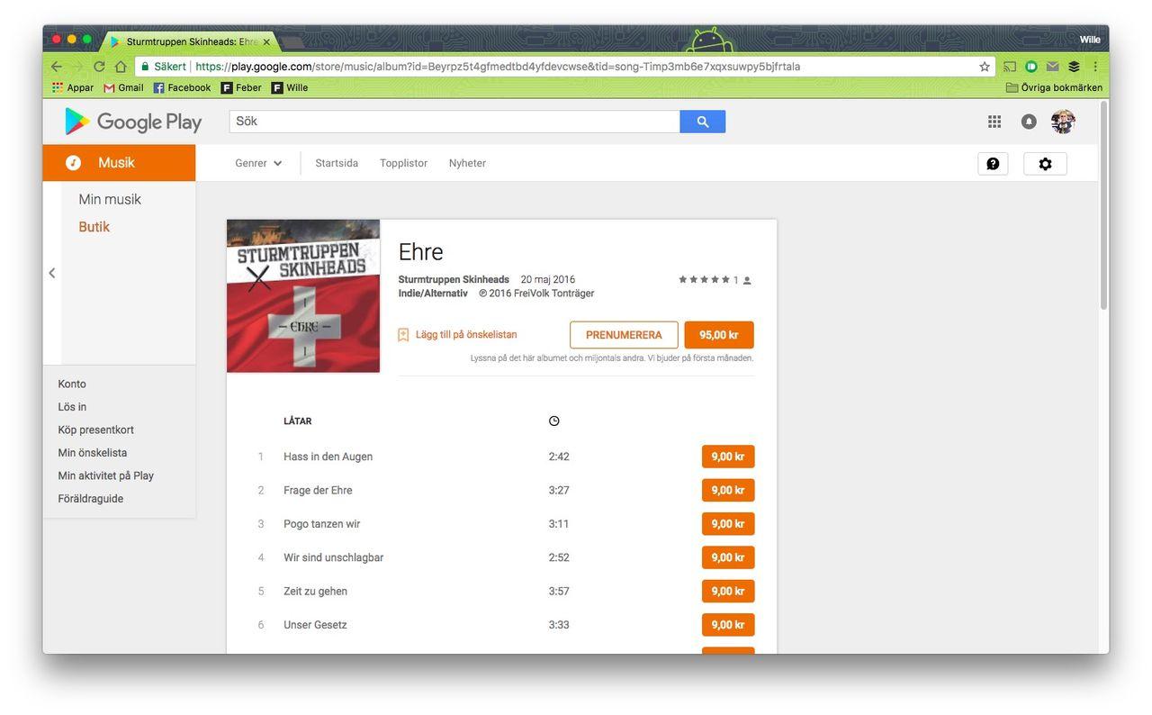 Google och Deezer ska också ta bort vitmakt-musik