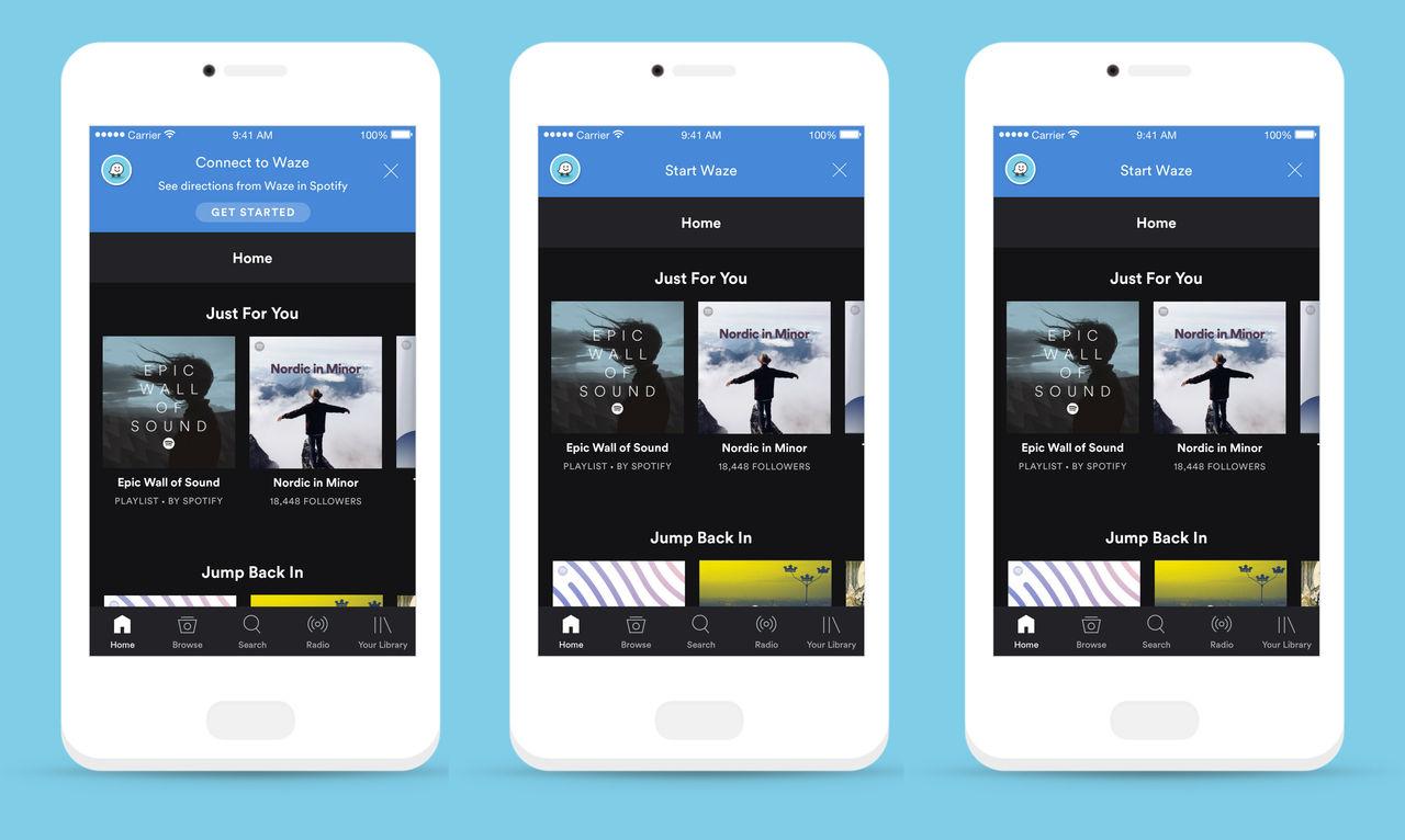 Spotifystöd i Waze till iOS