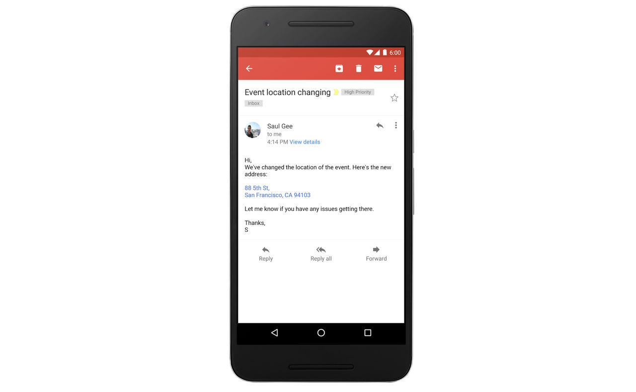 Gmail gör adresser klickbara