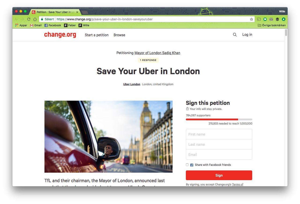 Uber startar namninsamling för att få vara kvar i London