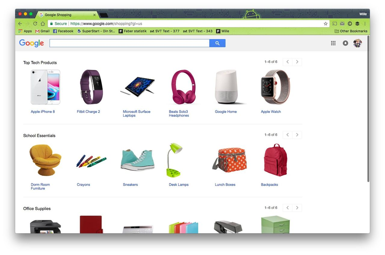 Google knoppar av Google Shopping