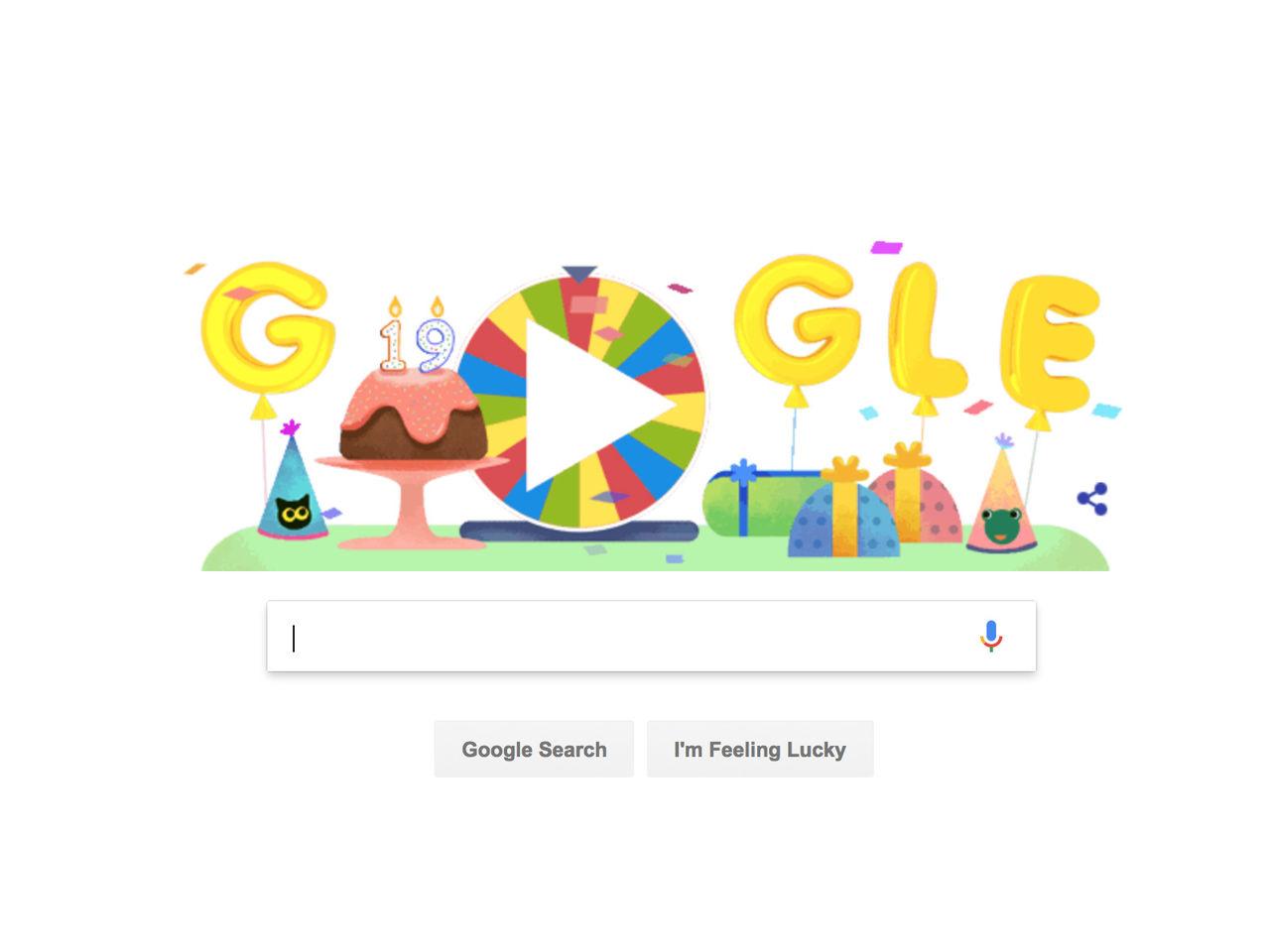 Google Doodle firar 19 år