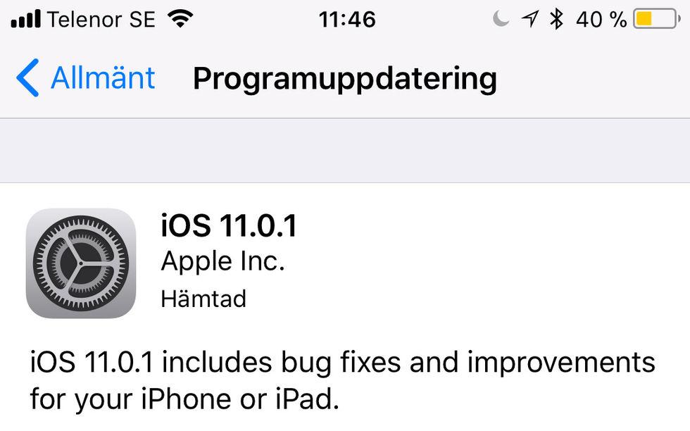 Apple släpper iOS 11.0.1