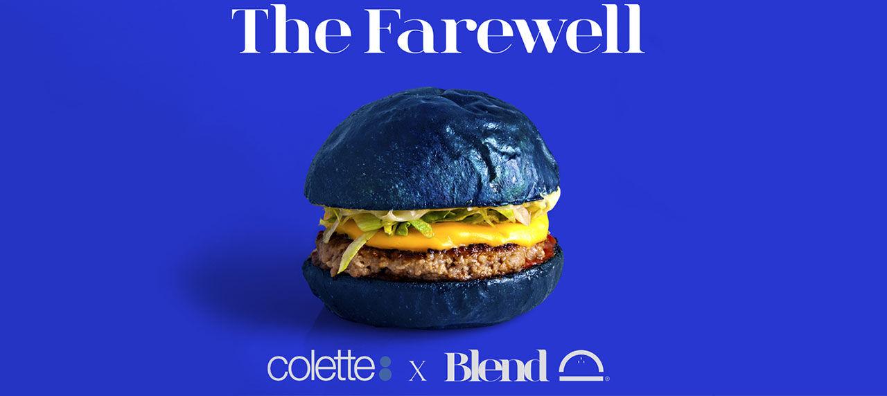 Blått hamburgerbröd hyllar Colette