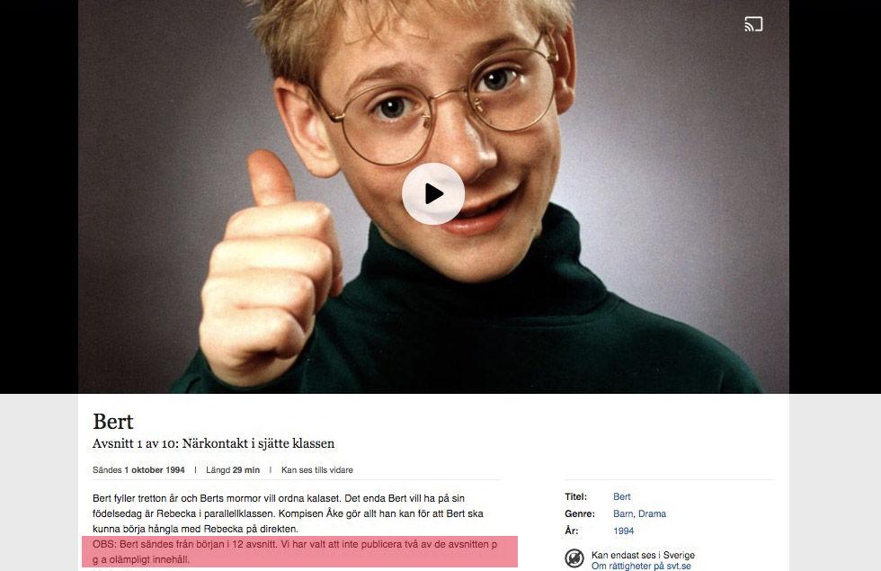SVT censurerar tv-serien Bert