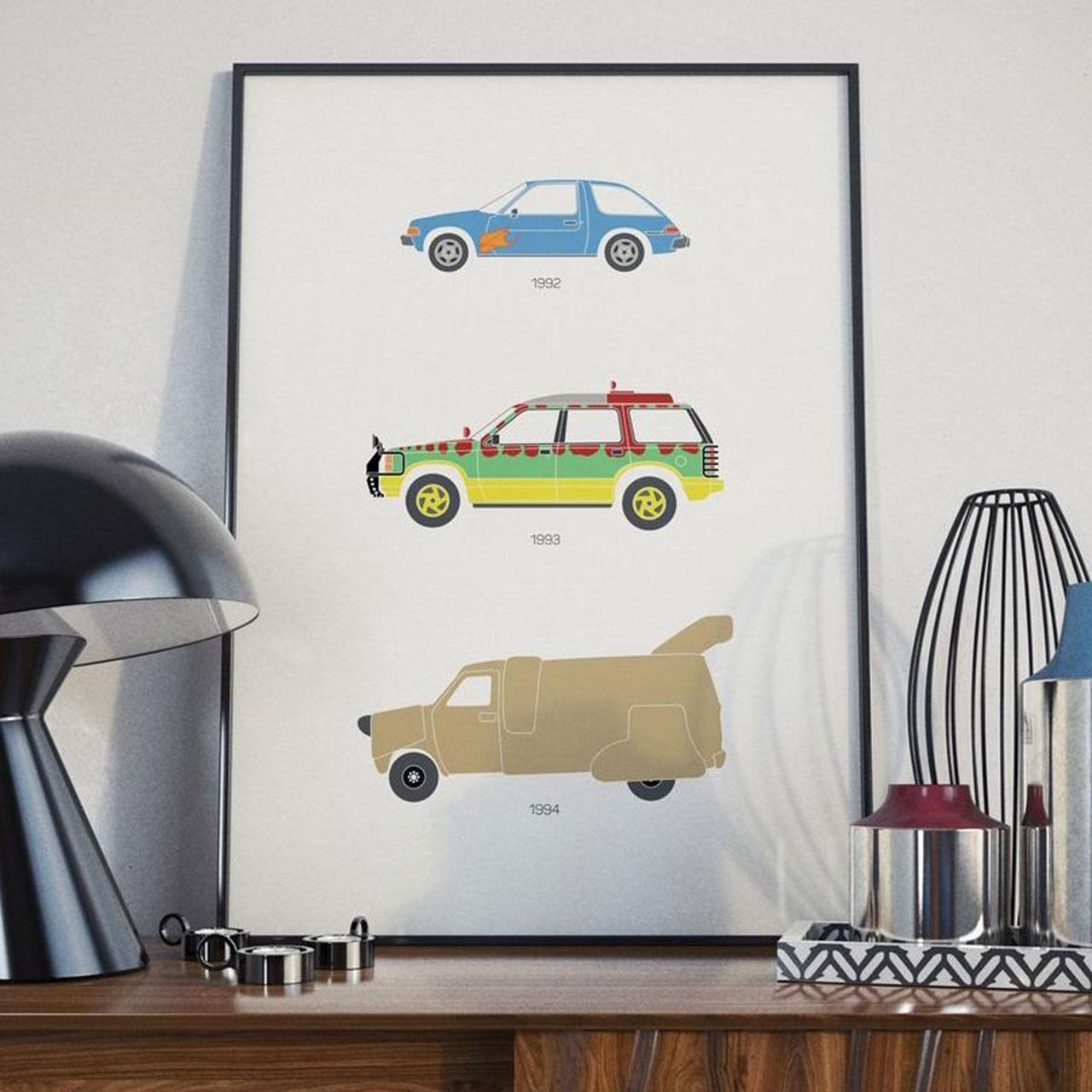 Tre välkända bilar att hänga på väggen