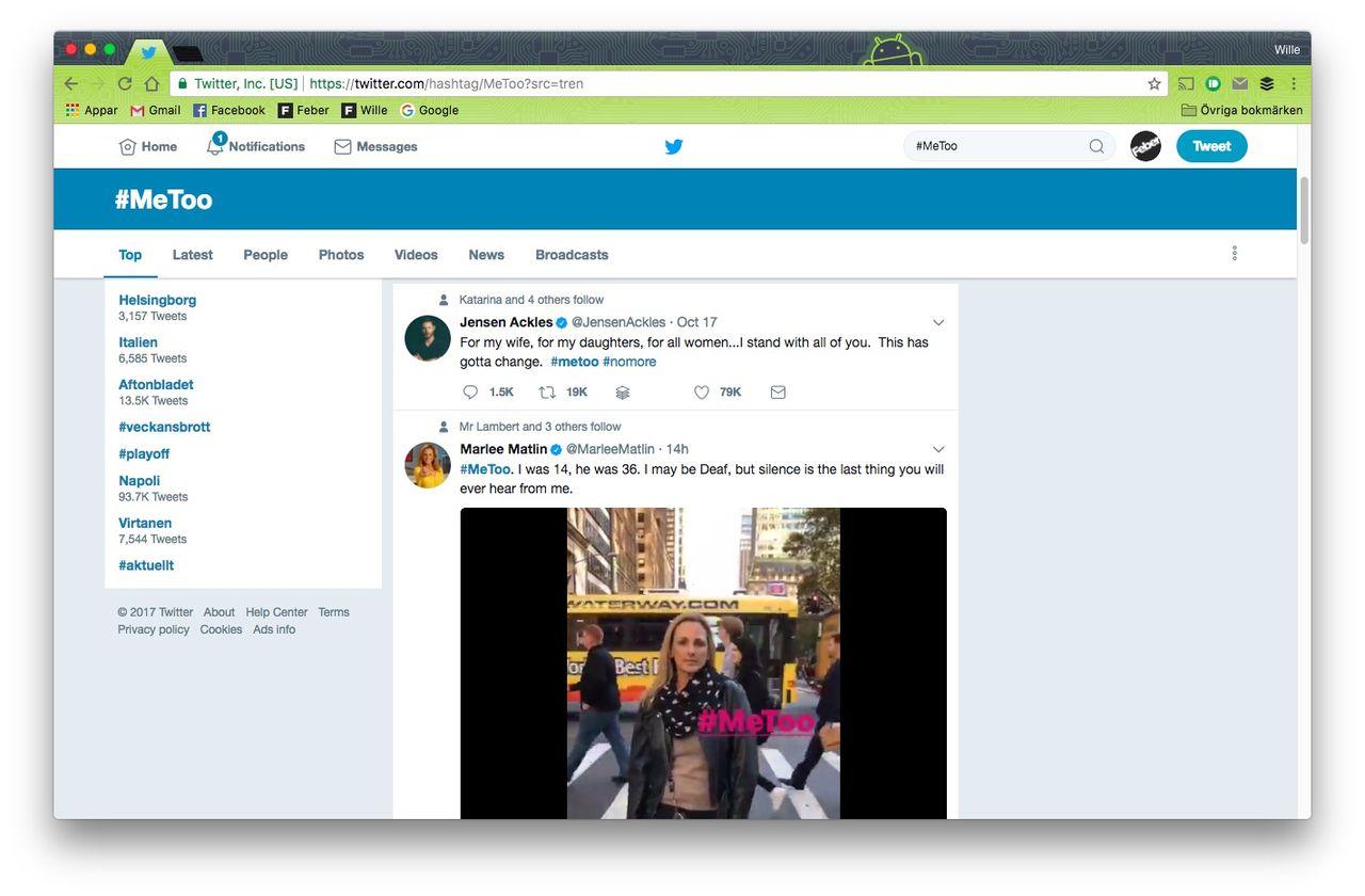 #MeToo har fått stort genomslag i sociala medier