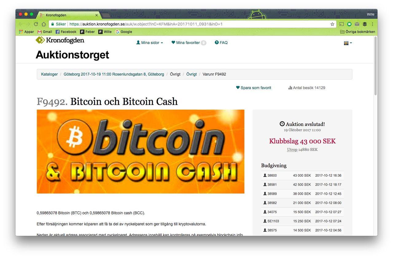 Kronofogdens bitcoin-auktion avslutad