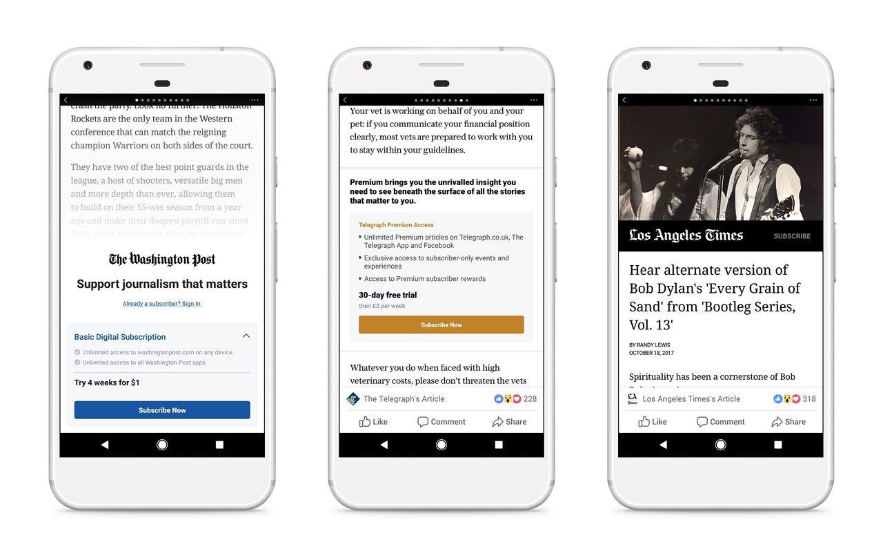 Facebook börjar med betalvägg för Instant Articles