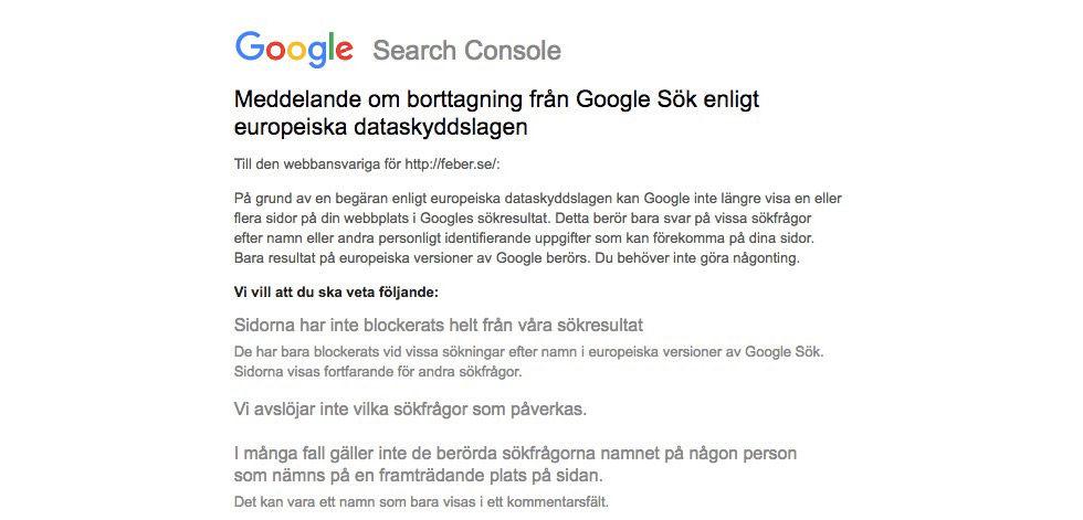 Vi har fått vår första artikel raderad från Googles sökindex